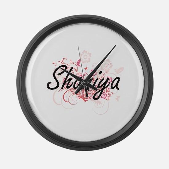 Shaniya Artistic Name Design with Large Wall Clock