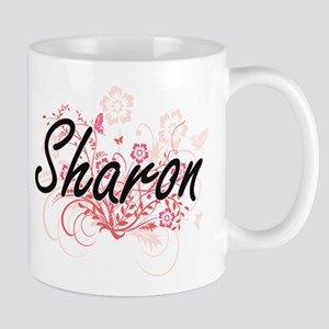 Sharon Artistic Name Design with Flowers Mugs