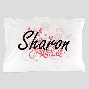 Sharon Artistic Name Design with Flowe Pillow Case