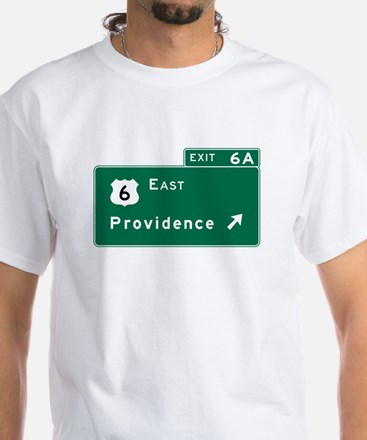 Providence, RI Road Sign, USA White T-Shirt
