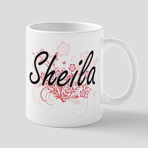 Sheila Artistic Name Design with Flowers Mugs