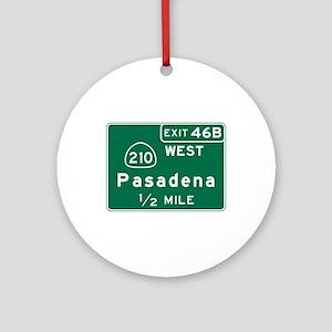 Pasadena, CA Road Sign, USA Round Ornament