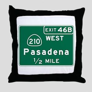 Pasadena, CA Road Sign, USA Throw Pillow
