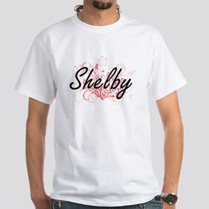 Shelby Artistic Name Design with Flowers T-Shirt