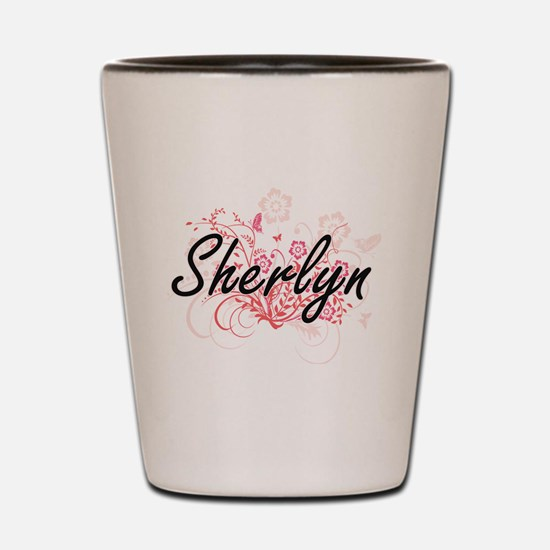 Sherlyn Artistic Name Design with Flowe Shot Glass