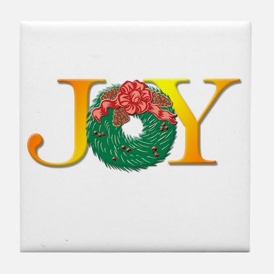 Joy Christmas Wreath Tile Coaster