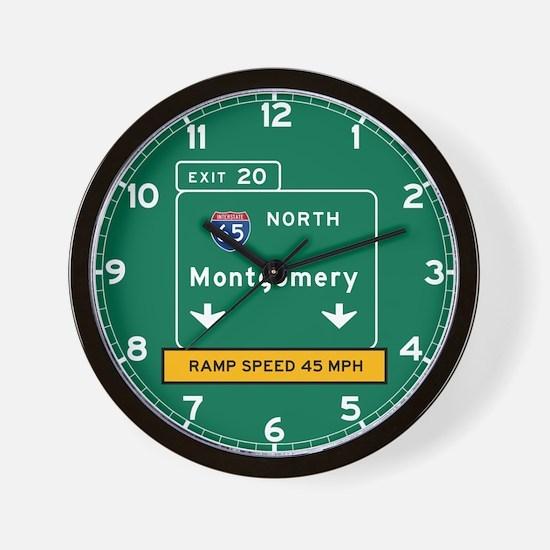 Montgomery, AL Road Sign, USA Wall Clock