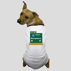 Montgomery, AL Road Sign, USA Dog T-Shirt
