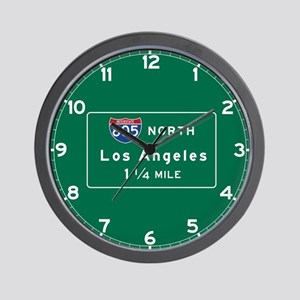 Los Angeles, CA Road Sign, USA Wall Clock