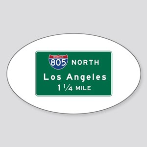 Los Angeles, CA Road Sign, USA Sticker (Oval)