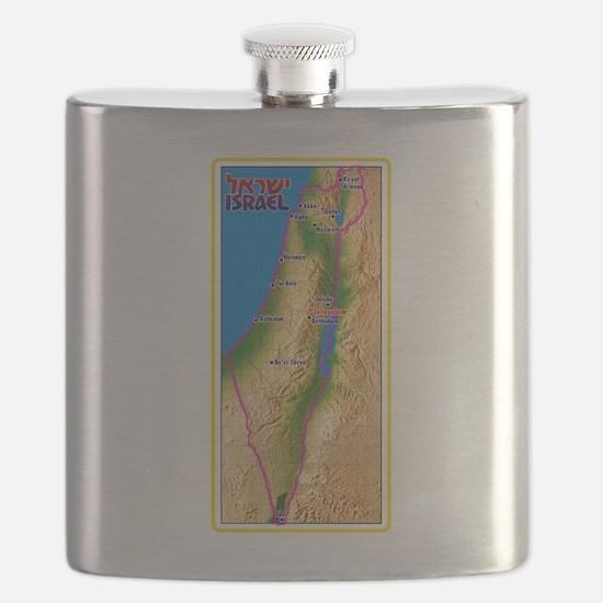 Israel Map Palestine Landscape Border Jewish Flask