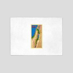 Israel Map Palestine Landscape Bord 5'x7'Area Rug