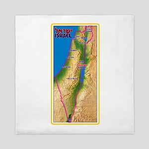 Israel Map Palestine Landscape Border Queen Duvet