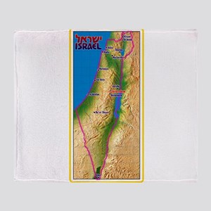 Israel Map Palestine Landscape Borde Throw Blanket