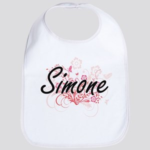 Simone Artistic Name Design with Flowers Bib