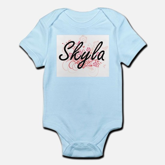 Skyla Artistic Name Design with Flowers Body Suit