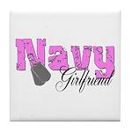 Navy Girlfriend Tile Coaster