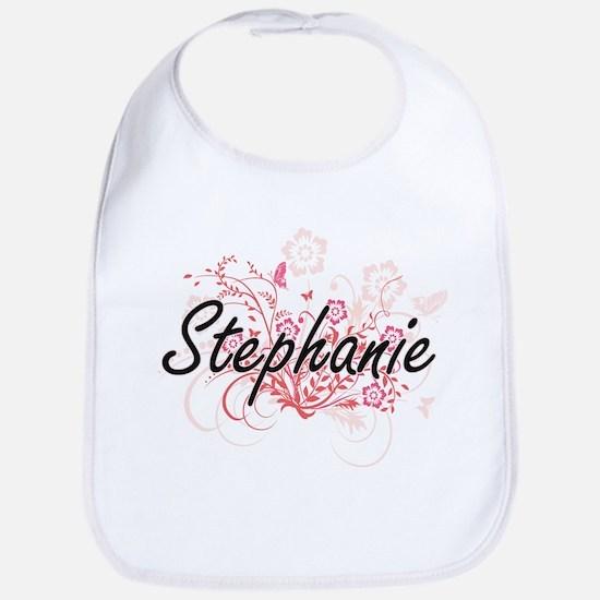 Stephanie Artistic Name Design with Flowers Bib