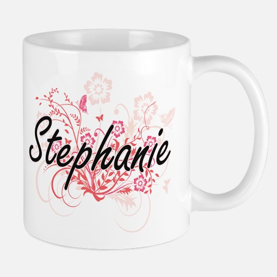 Stephanie Artistic Name Design with Flowers Mugs