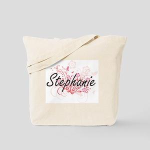Stephanie Artistic Name Design with Flowe Tote Bag