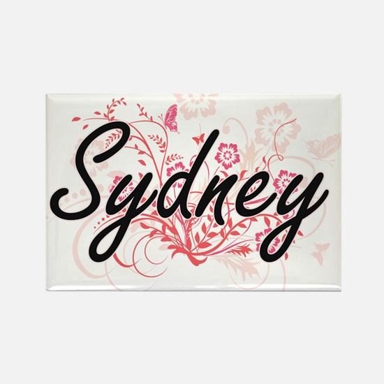 Sydney Artistic Name Design with Flowers Magnets