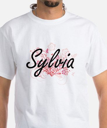 Sylvia Artistic Name Design with Flowers T-Shirt