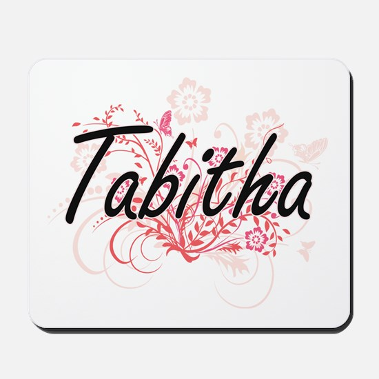 Tabitha Artistic Name Design with Flower Mousepad