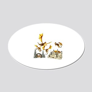 Dragons attacking castle Wall Decal