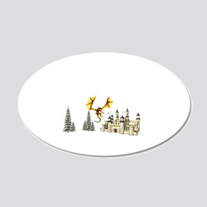 Dragon landing in front of castle Wall Decal