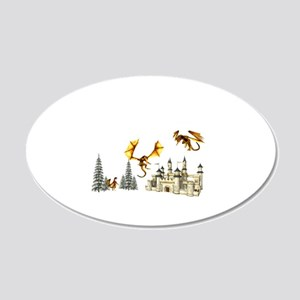 Multiple dragons castle and trees Wall Decal