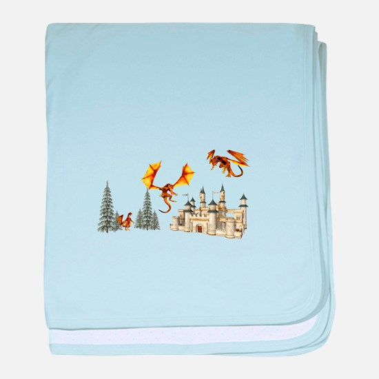 Multiple dragons castle and trees baby blanket