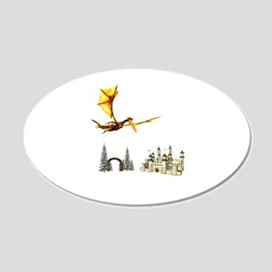 Dragon flying over castle and arch Wall Decal
