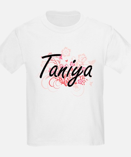 Taniya Artistic Name Design with Flowers T-Shirt