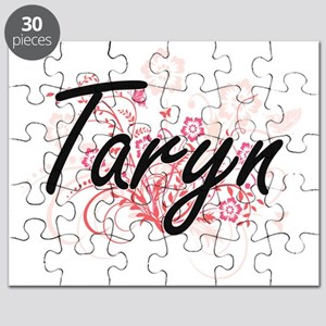 Taryn Artistic Name Design with Flowers Puzzle