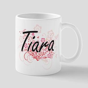 Tiara Artistic Name Design with Flowers Mugs
