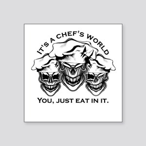 Laughing Chef Skulls: It's a Chef's World Sticker