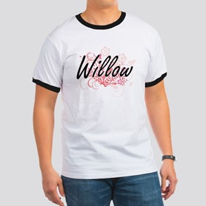 Willow Artistic Name Design with Flowers T-Shirt