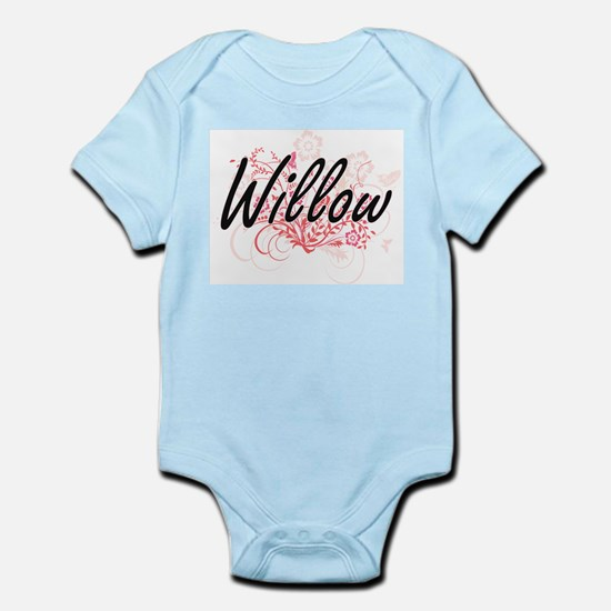 Willow Artistic Name Design with Flowers Body Suit