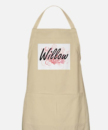 Willow Artistic Name Design with Flowers Apron