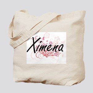 Ximena Artistic Name Design with Flowers Tote Bag