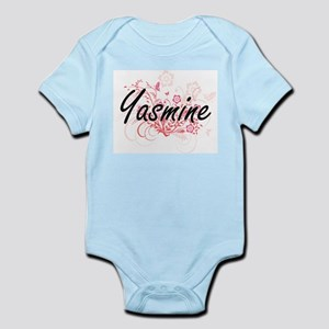 Yasmine Artistic Name Design with Flower Body Suit
