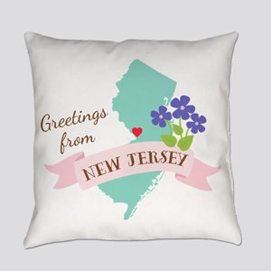 New Jersey State Outline Violet Flower Greetings E