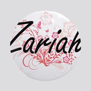 Zariah Artistic Name Design with Fl Round Ornament