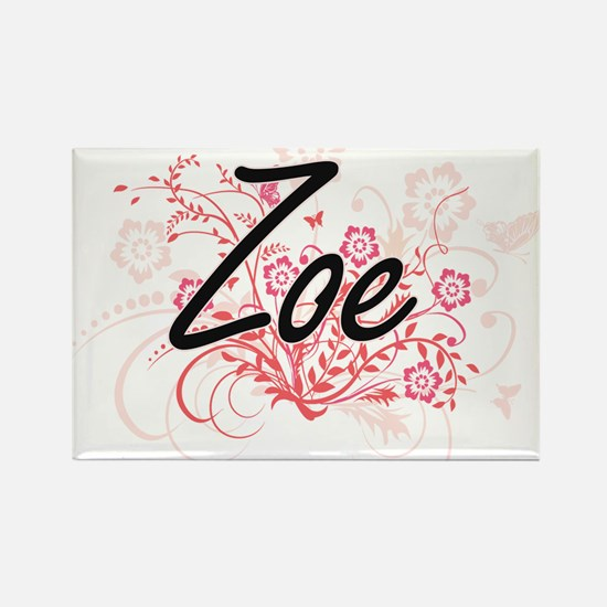 Zoe Artistic Name Design with Flowers Magnets