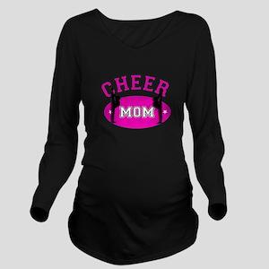 Pink Cheer Mom Long Sleeve Maternity T-Shirt