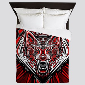 Wolf Tattoo Style Haida Art Queen Duvet