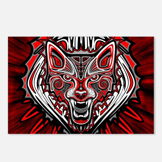 Wolf Tattoo Style Haida Art Postcards (Package of