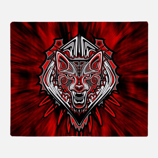 Wolf Tattoo Style Haida Art Throw Blanket
