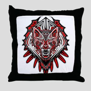Wolf Tattoo Style Haida Art Throw Pillow