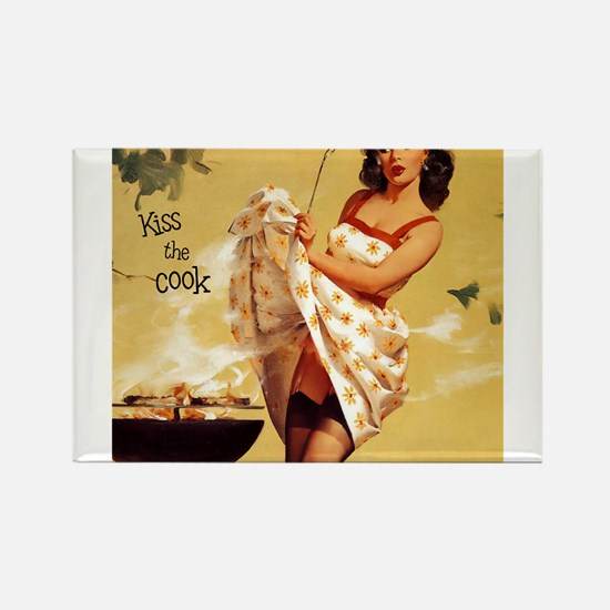 Cute Kiss the chef Rectangle Magnet